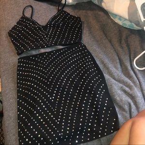 Two-Piece Black Sparkly Dress Set